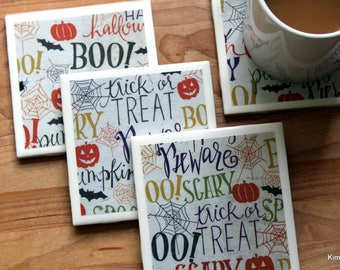Halloween Coasters - Coasters - Drink Coasters - Tile Coasters - Ceramic Coasters  - Table Coasters - Coaster Set - Handmade Coasters