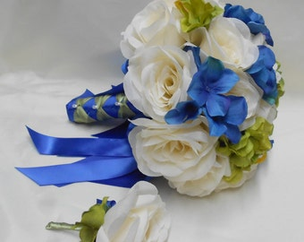 Wedding Bridal Bouquet Your Colors 2 pieces Royal Blue Sage Ivory Rose Hydrangeas with Boutonniere Centerpiece Accessories FREE SHIPPING