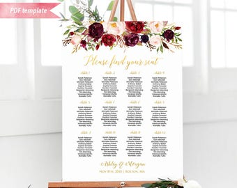 Printable Burgundy Floral Seating Chart Board, Gold Wedding Seating Plan PDF Template, 24x36 Large Wedding sign, DIY Instant Download #31