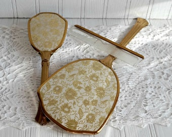 Vanity Hand Mirror Brush and Comb Set Floral Brocade 1950s Art Deco Gold Thread Floral Vanity Set Vintage Dresser Set Gift for Her