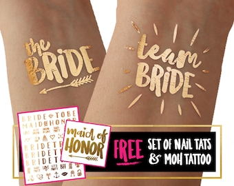Team Bride tattoos for fun bachelorette party / hens party / girls weekend / metallic gold foil temporary tattoo