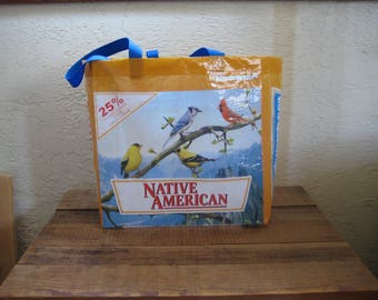 Large Bird Food Tote Bag Purse - Upcycled Recycled Reusable