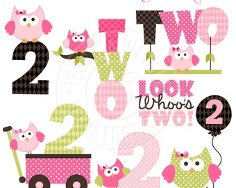 Second Birthday Girl Owls Cute Digital Clipart - Commercial Use OK - Owl Second Birthday Clipart - Second Owl Birthday Graphics