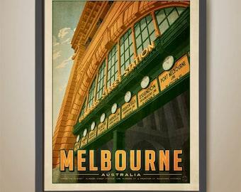 Flinders Street Station. Under the clocks. Australian travel poster. Melbourne travel poster. Melbourne Print.
