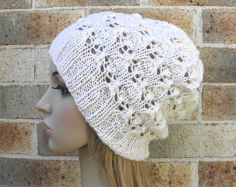 Lacy slouchy hat cream white slouch beanie fine pure wool women beret hand knit lace openwork warm winter touque READY MADE