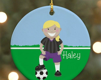 Personalized Soccer Ornament (Female version) - Personalized with Name