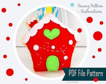 Ginger Bread House Christmas House Sewing pattern - PDF ePATTERN , Christmas Ornament  Instant Download A909