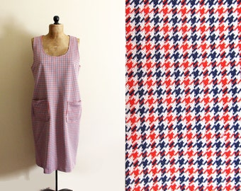 vintage jumper dress 60s mod red white blue houndstooth 1960s womens clothing size extra large xl