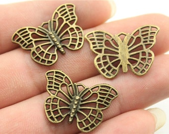 6 Butterfly Charms, Antique Bronze Tone (1G-14)