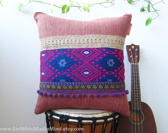 Boho Throw Pillow Pillow Purple Gypsy Bohemian - Ethnic Decorative Cushion Cover