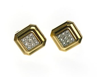 Vintage Avon Diamond Square Geometric Earrings with Crystals Clip Back