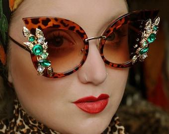 50s 60s retro oversized faux tortoiseshell embelished cat eye sunglasses