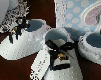 Ten Light Blue Baby Boy Shoe Favors With Gift Tag
