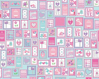 Lovey Stamps Purple Half Yard Cut - Riley Blake Designs-Cotton Fabric-Purple Fabric
