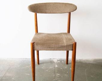 60s dining chair, Scandinavian design, teak chair, upholstered chair, Velvet