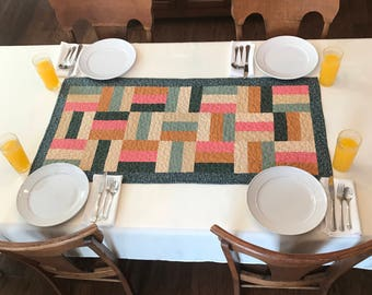 Multi Color Quilted Table Runner, Quilted Table, Hobo Rail Table Runner