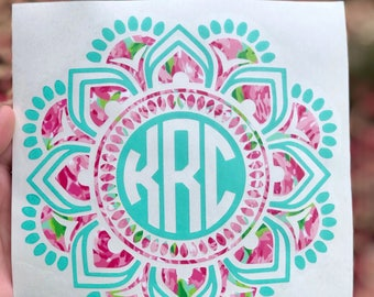 Mandala Monogram Decal two color monogram decal-car-yeti- cooler- laptop- planner- macbook