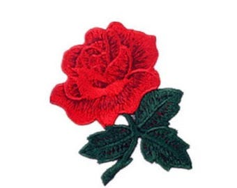 """3D Rose SEW on Full Embroidered patch (W=2.75"""" L=3.5"""")"""