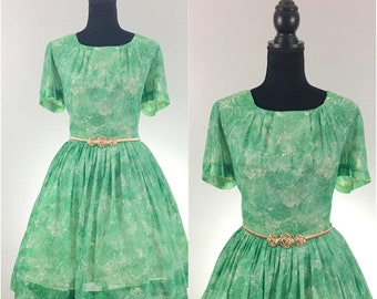 Betty Hartford Vintage Dress, 1960's Dress, Green Vintage Dress, VLV Dress, Dapper Day, Vintage Size Large, Vintage Day Dress, Floral Dress,