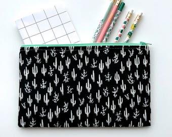 Cactus Zipper Pouch, Cactus Pencil Case, Plant Pencil Pouch, Succulent Cosmetic Bag, Gift bag, Cosmetic pouch