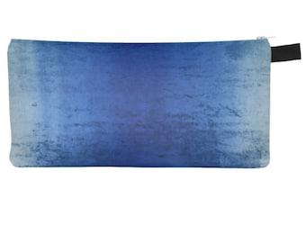 Worn Blue Velvet Printed Cosmetic & Pencil Zipper Clutch