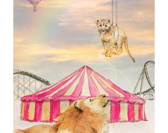 Set Them Free | A5 print | Alykat Creative Escape From the Circus series | Lion cub