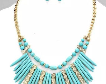 Beaded Turquoise Statement Necklace and Earring Set