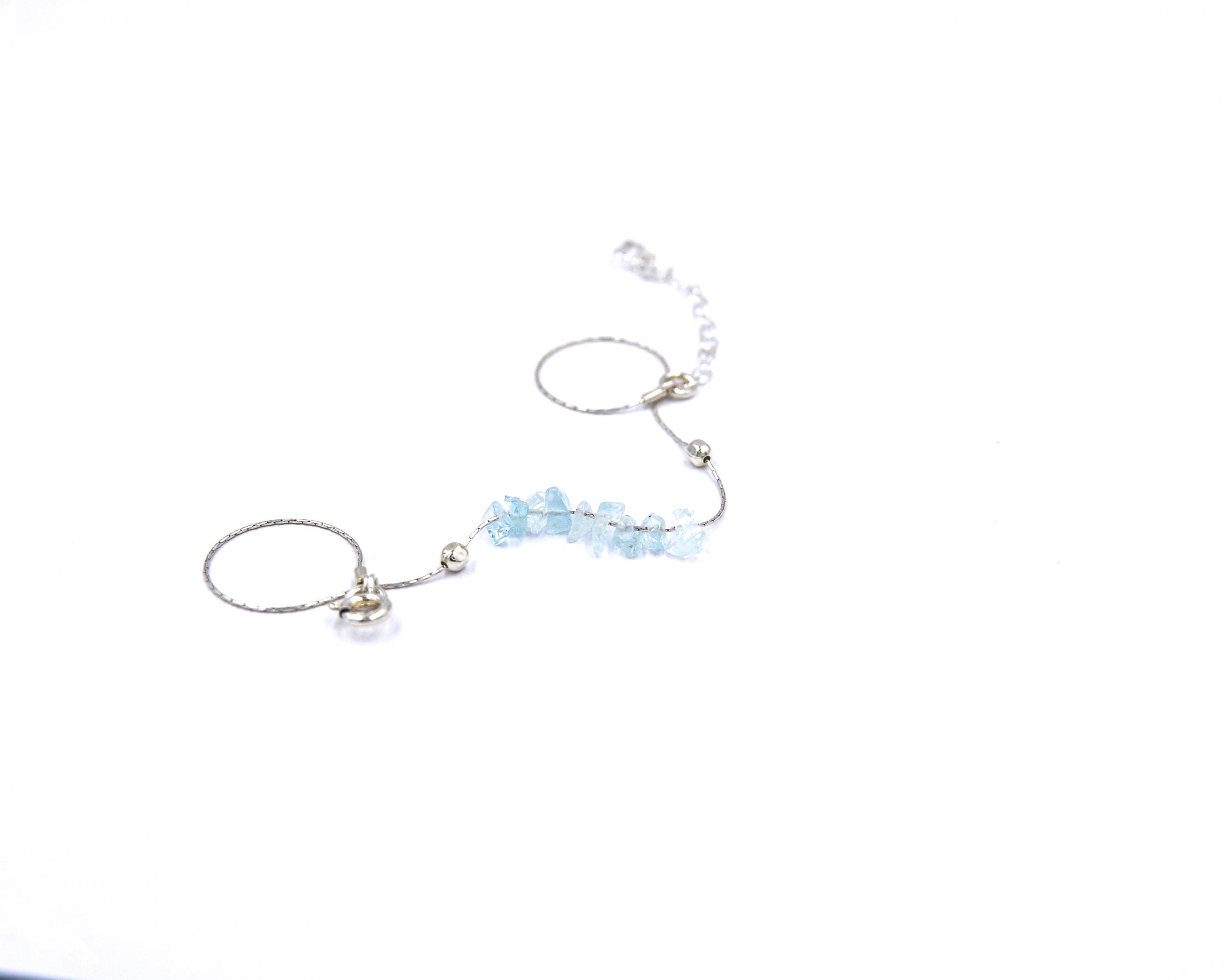 collections flower sterling silver blue aquamarine butterfly anklet baker jewellery length crystal bracelet franki