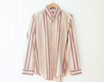 70s Country Squire men's long sleeve button-up | Vintage striped men's cowboy shirt