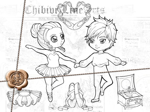 Sellos digitales | LineArt Set Chibi Ballet | imprimibles para ...
