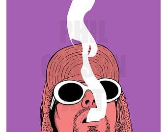 """Original """" Marigold"""" Kurt Cobain Art Print Poster"""