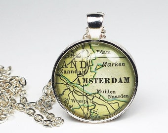 Amsterdam Map Necklace- Vintage Map Pendant Jewelry from a 1929 Atlas, Netherlands Map Necklace, Amsterdam Necklace, Amsterdam Pendant