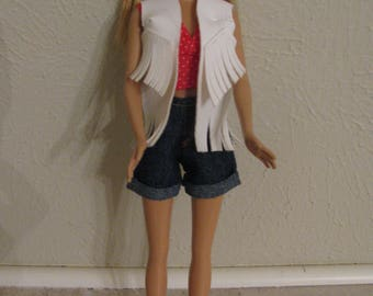 Barbie doll clotthes-jean shorts & halter top
