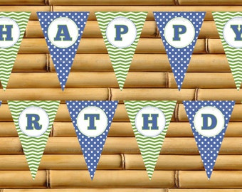Happy Bithday, Birthday Party, Birthday Party Banner, Happy Birthday Sign, Party Supplies, Blue, Green, Printable, Instant Download-TFD329