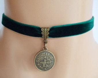 green velvet choker, sagittarius choker, sagittarius necklace, zodiac charm, antique bronze
