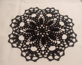New black crochet doily - black doily - black home decor