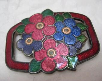 Flower Blue Red Purple Brooch Enamel Silver Vintage