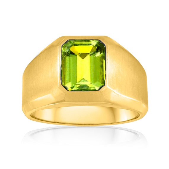Chunky Green Peridot Ring Mens Peridot Signet Ring 10K