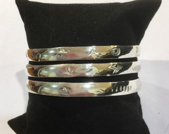 Silver Plated Bracelet Mexican Aztec Design Handmade in Taxco