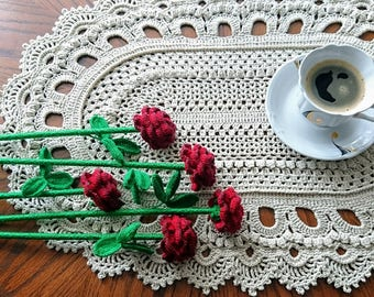 Large VERSAL oval textured Crochet doily - beauty handmade gift home decor table mat couche pañal Windel