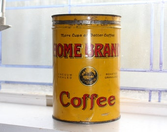 Home Brand Coffee Tin 2 Lb Vintage 1940s