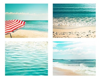 beach photography nautical decor print set 5x7 8x10 8x12 fine art photography ocean beach umbrella photography waves coastal prints teal art