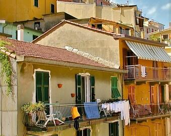 Cinque Terre Print - Italy Laundry Photography Colorful Italian Photograph Rustic Mediterranean Home Decor Orange Yellow Autumn Fall