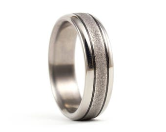 Men's titanium and carbon fiber ring. Modern and industrial wedding band.  Water resistant, very durable and hypoallergenic. (00300_6N)