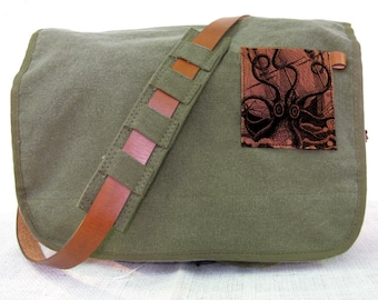 green canvas messenger bag with leather accents - octopus attacks bag