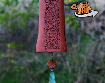 Unique Red Wind Chime Garden Bell with Bird Sculpture Art Copper Wind Chimes Garden Gifts-Under 50 Handmade Gift Under 50 Gift for Her