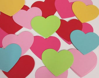 Heart Die Cuts- Party Decor, Favor Tags, Diy Garland, Heart Gift Tags  -PICK YOUR COLORS 3 1/4""
