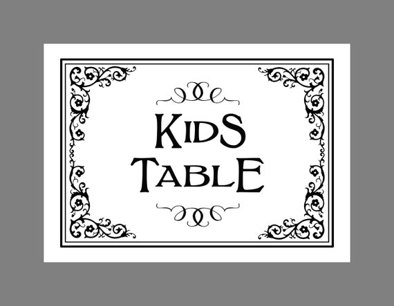 KIDS TABLE PRINTABLE Wedding Sign Traditional Black Tie