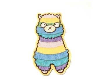 Rainbow Alpaca Llama embroidered iron on patch kawaii