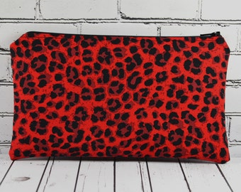 Red Leopard Print Pencil Case, Animal Print Bag, Retro Bag, Rockabilly Makeup Bag, Cosmetic Bag, Bright Leopard Print.